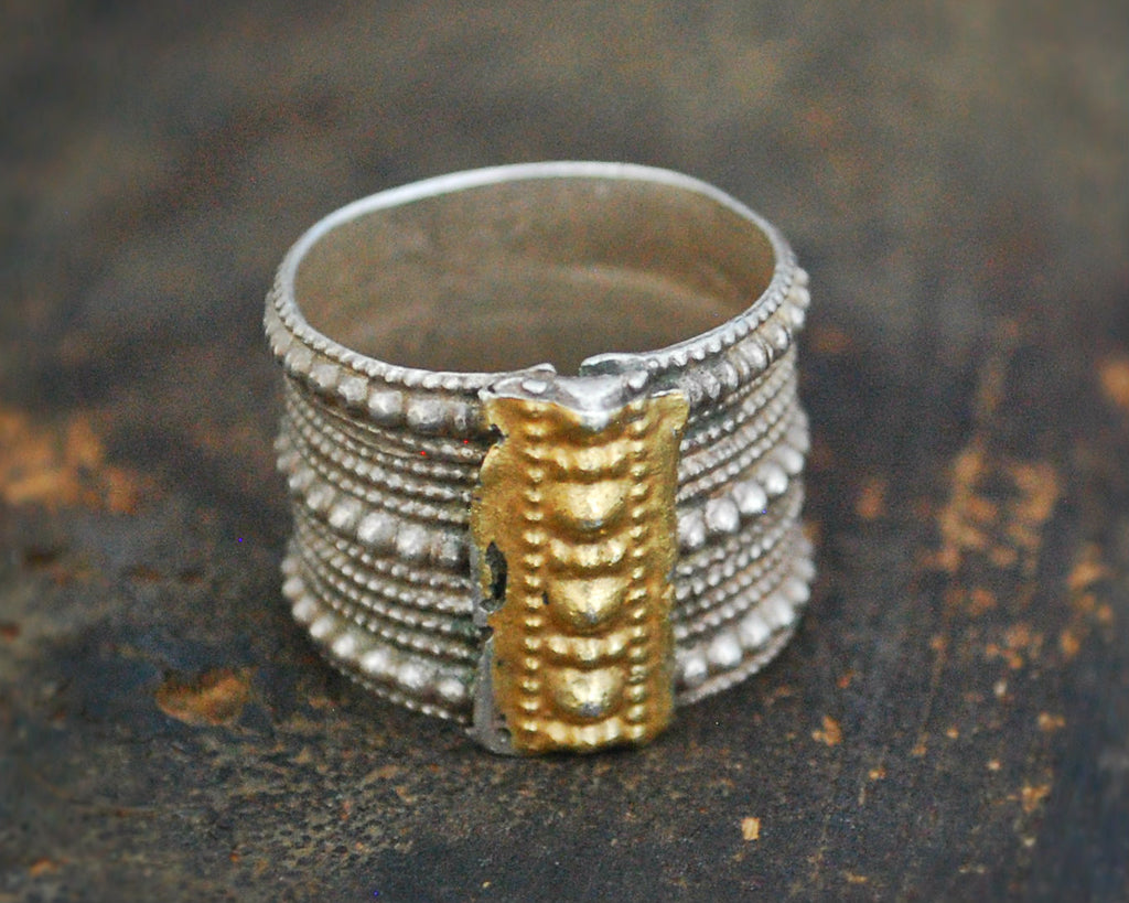 Antique Omani Silver Ring with Gilding - Size 10
