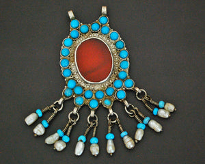 Afghani Carnelian Pendant with Turquoise and Pearls -