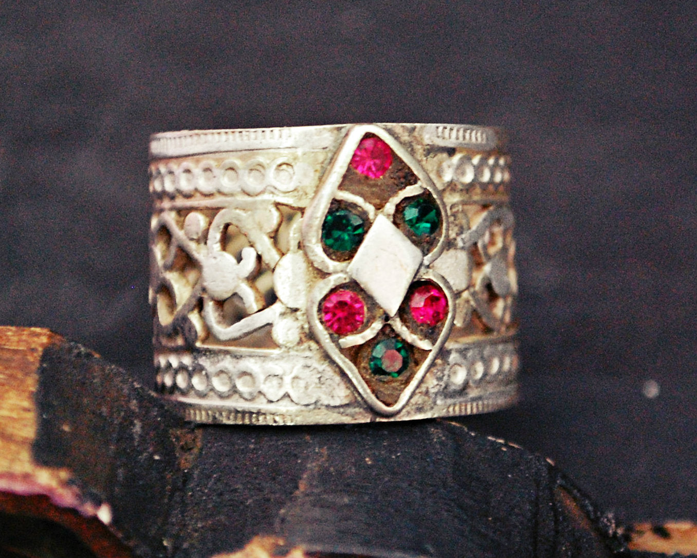 Antique Afghani Openwork Band Ring with Glass Stones - Size 8