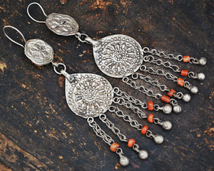 Uzbek Coral Earrings - Central Asian Earrings