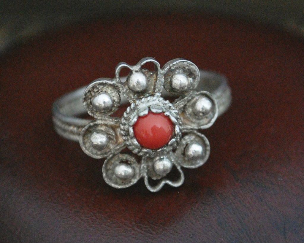 Old Croatian Filigree Coral Ring - Size 7