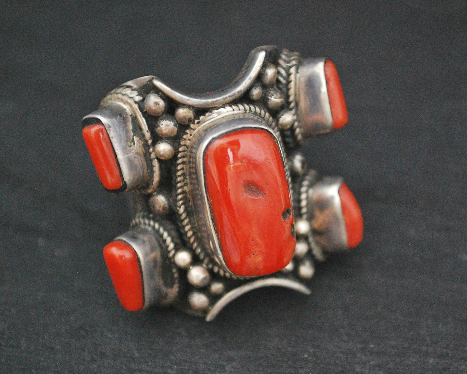 Bold Nepali Coral Ring - Size 9.5