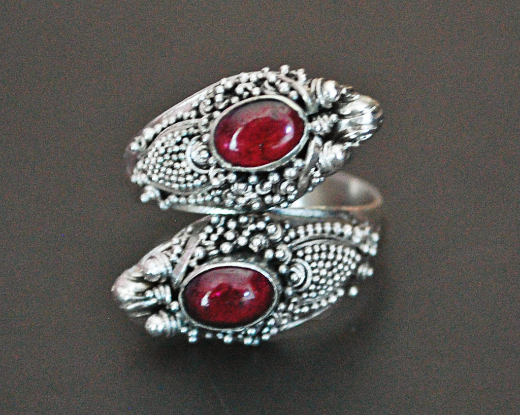 Double Dragon Garnet Ring from Bali - Size 7 / Adjustable