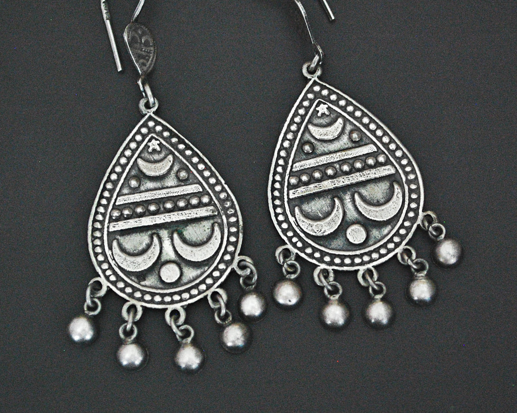 Egyptian Moon and Star Earrings with Bells