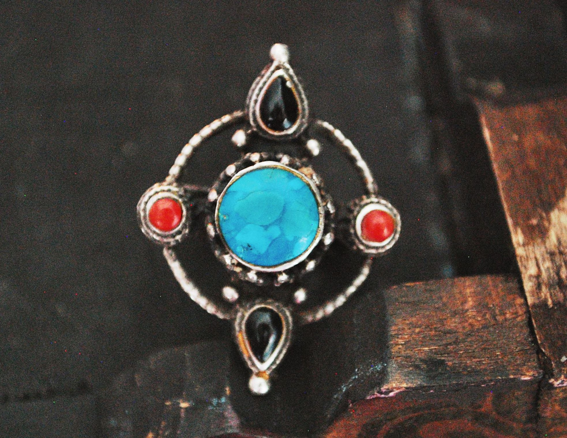 Vintage Nepali Turquoise, Coral and Onyx Ring