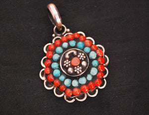 India Turquoise Coral Pendant