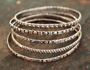 Rajasthani Silver Bracelets - Set of Five