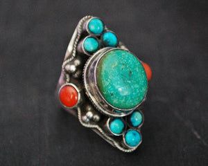 Substantial Nepali Turquoise Coral Ring - Size 8