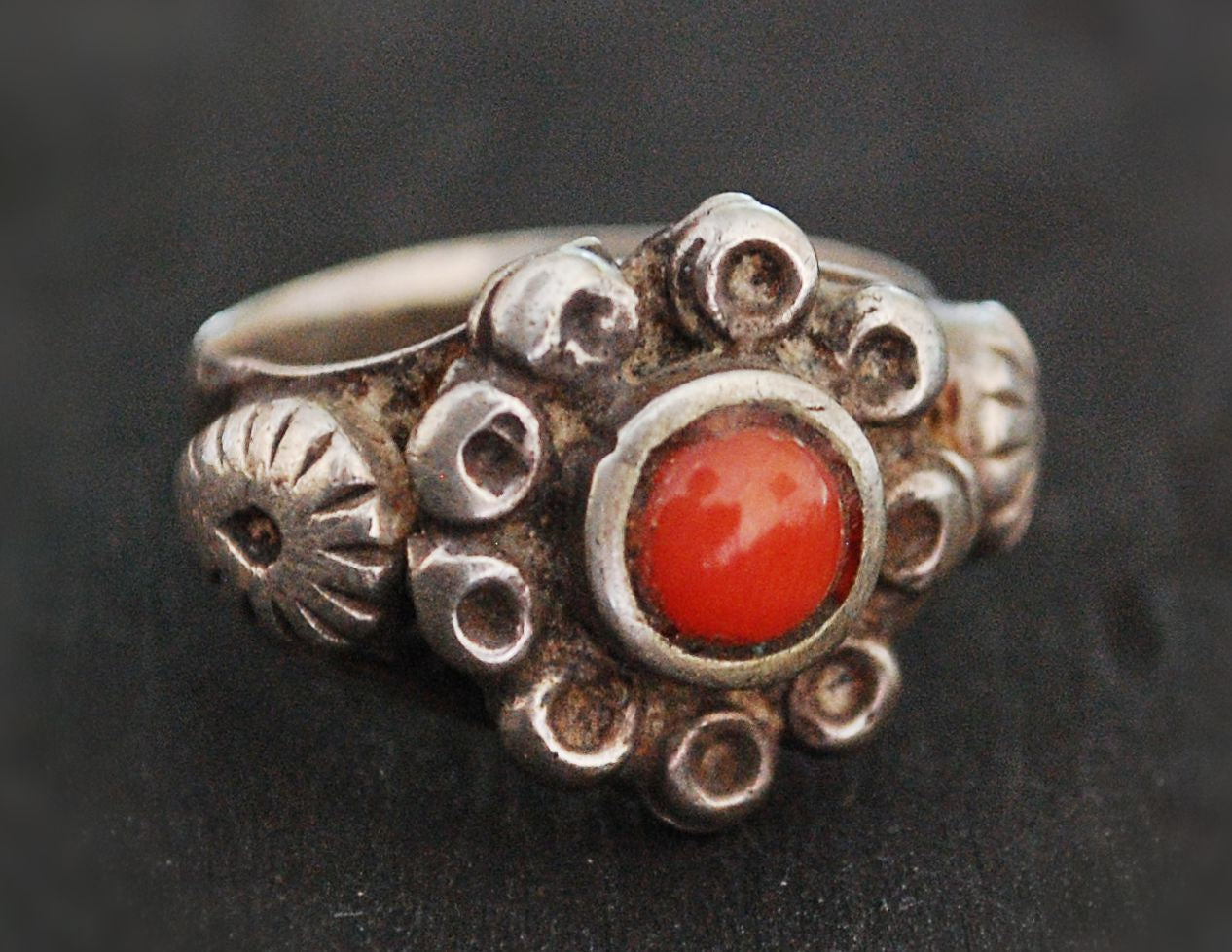 Rajasthani Tribal Coral Ring - Size 7