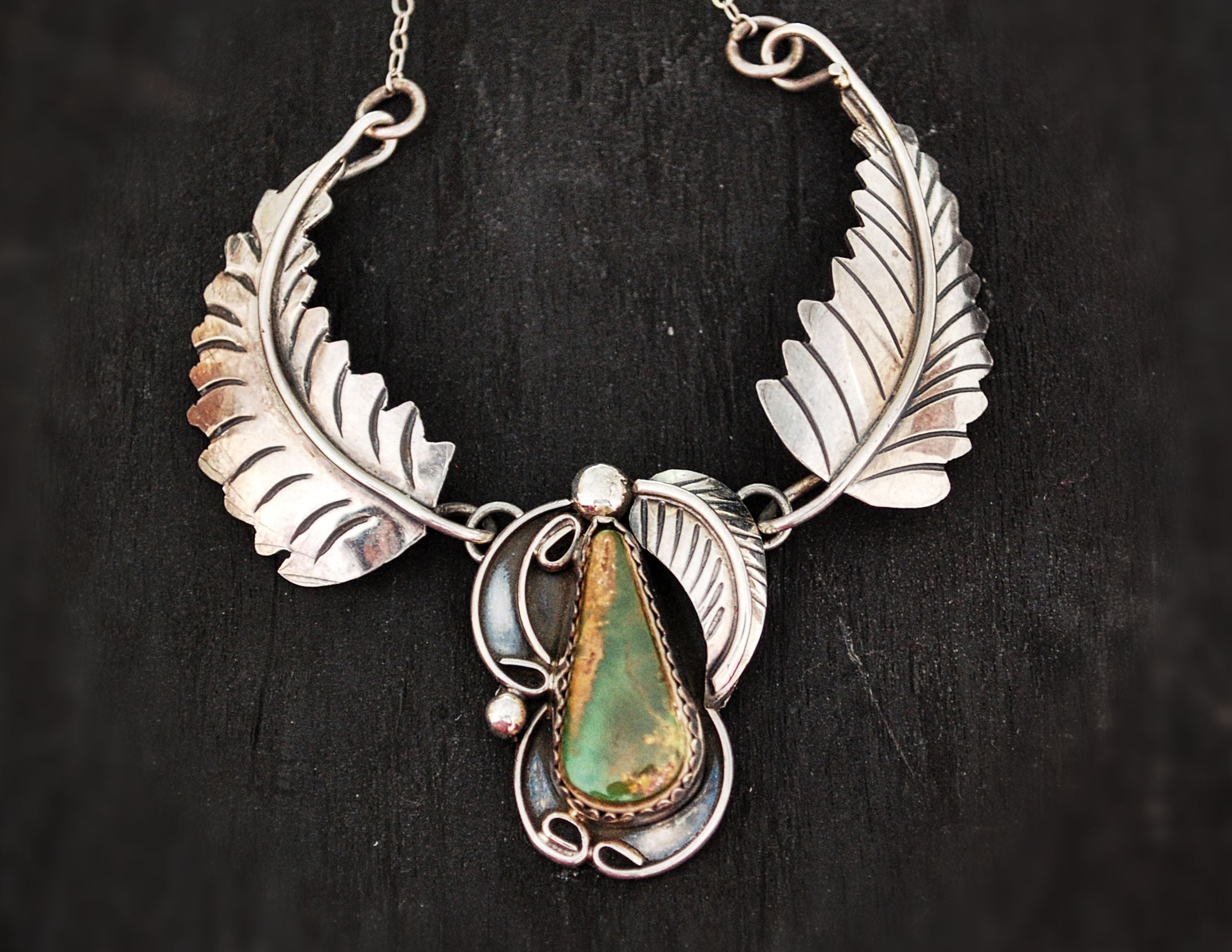 Navajo Turquoise Feather Necklace - Signed Patricia Platero