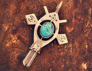 Tuareg Style Silver Cross Pendant with Turquoise and Crystal Quartz Tip