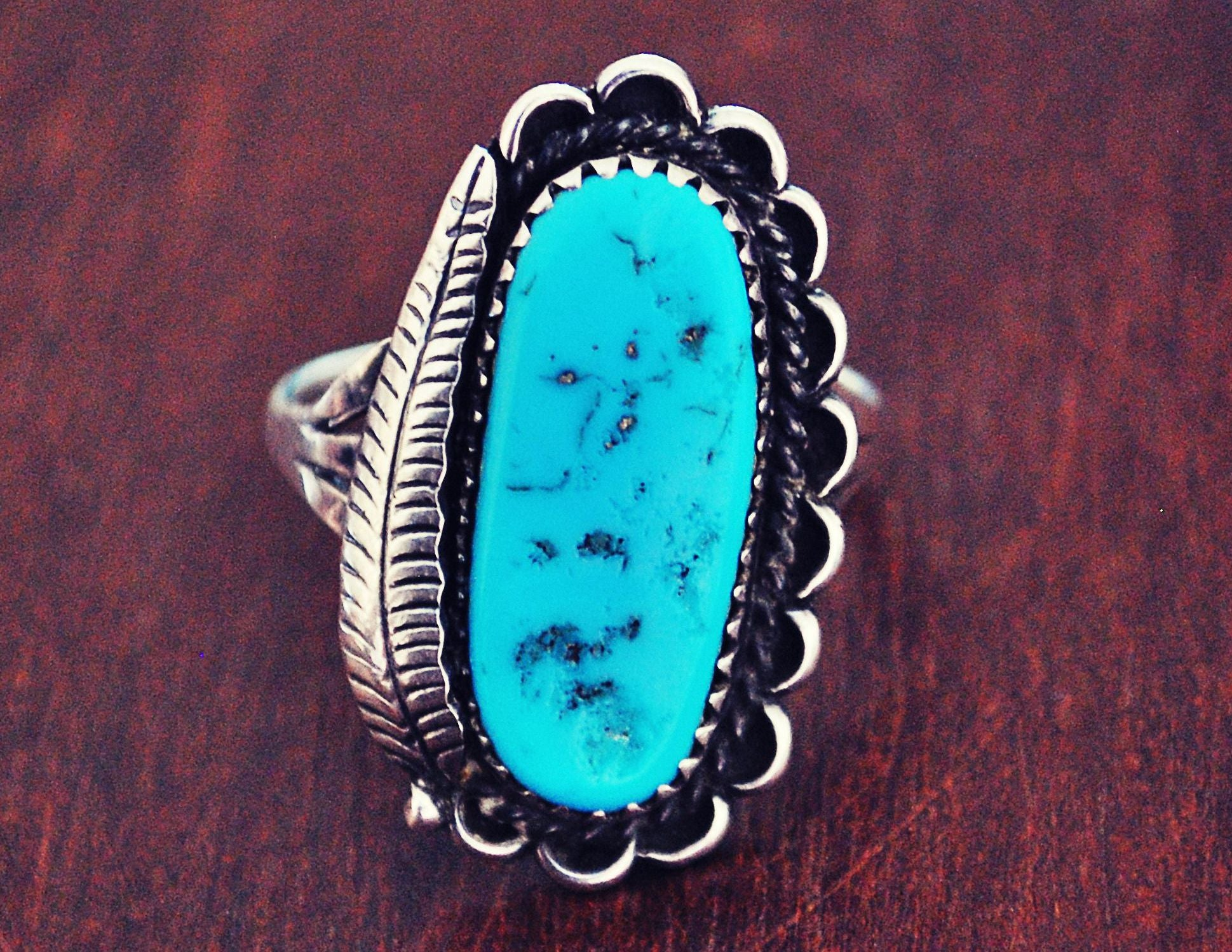 Native American Navajo Turquoise Ring - Size 9