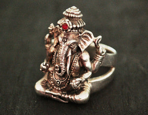 Large Ganesha Sterling Silver Ring - Size 11