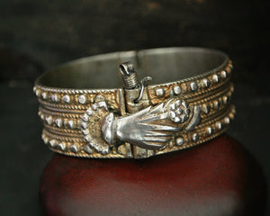 Old Palestinian Silver and Gilded Bracelet