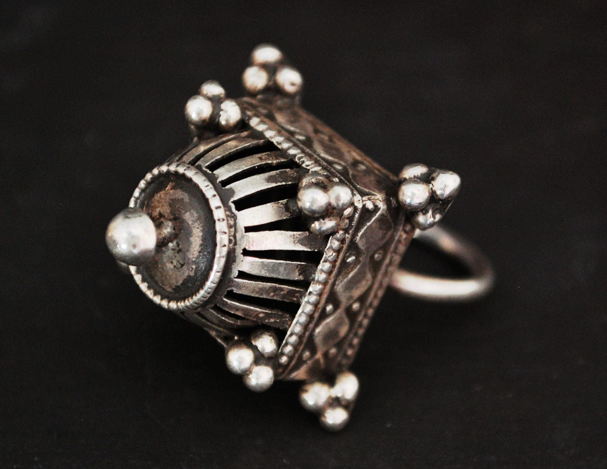 Antique Rajasthani Silver Ring - Size 8