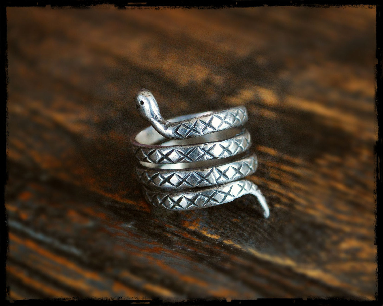 Snake Coil Ring from India - Size 7 - Gypsy Boho Snake Ring - Ethnic Tribal Indian Coil Snake Ring - Snake Ring