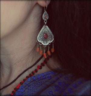 Tribal Afghan Earrings with Coral and Carnelian - Kazakh Earrings with Coral and Carnelian - Tribal Silver Coral Earrings