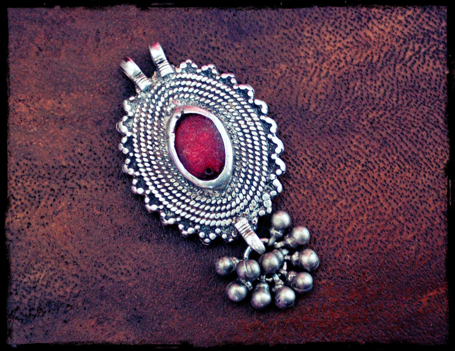 Antique Afghan Silver Pendant with Red Glass and Small Bells - Ethnic Tribal Silver Pendant