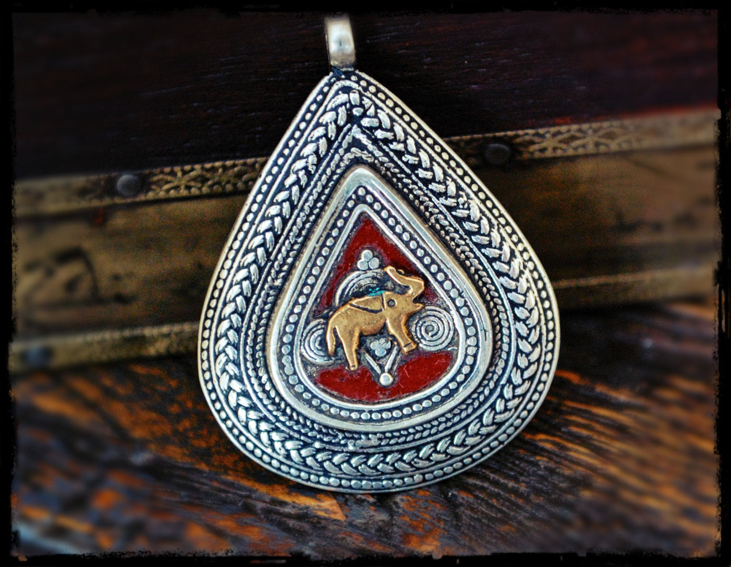 Afghan Kazakh Pendant with Elephant