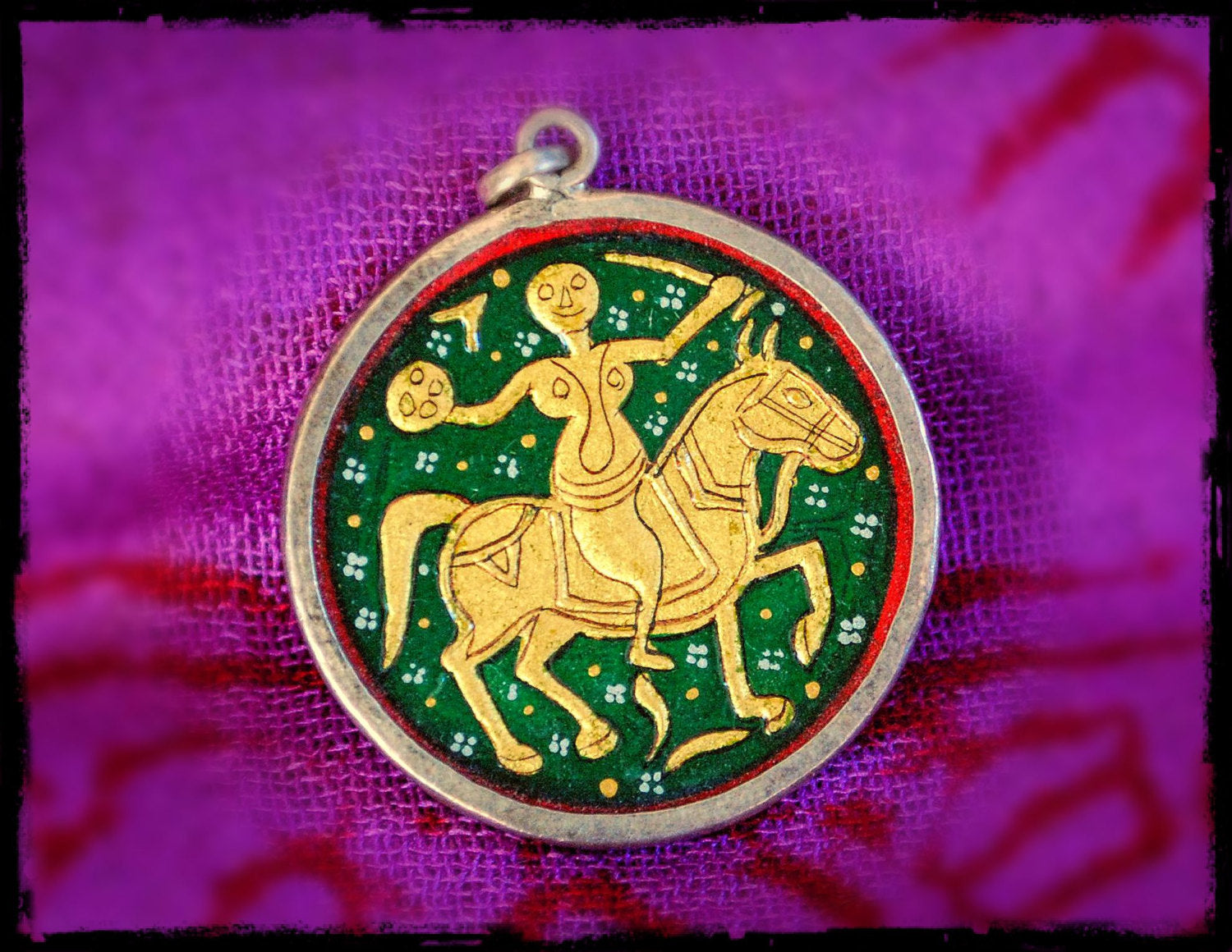 Indian Painting Bhumiya Raj Pendant Amulet