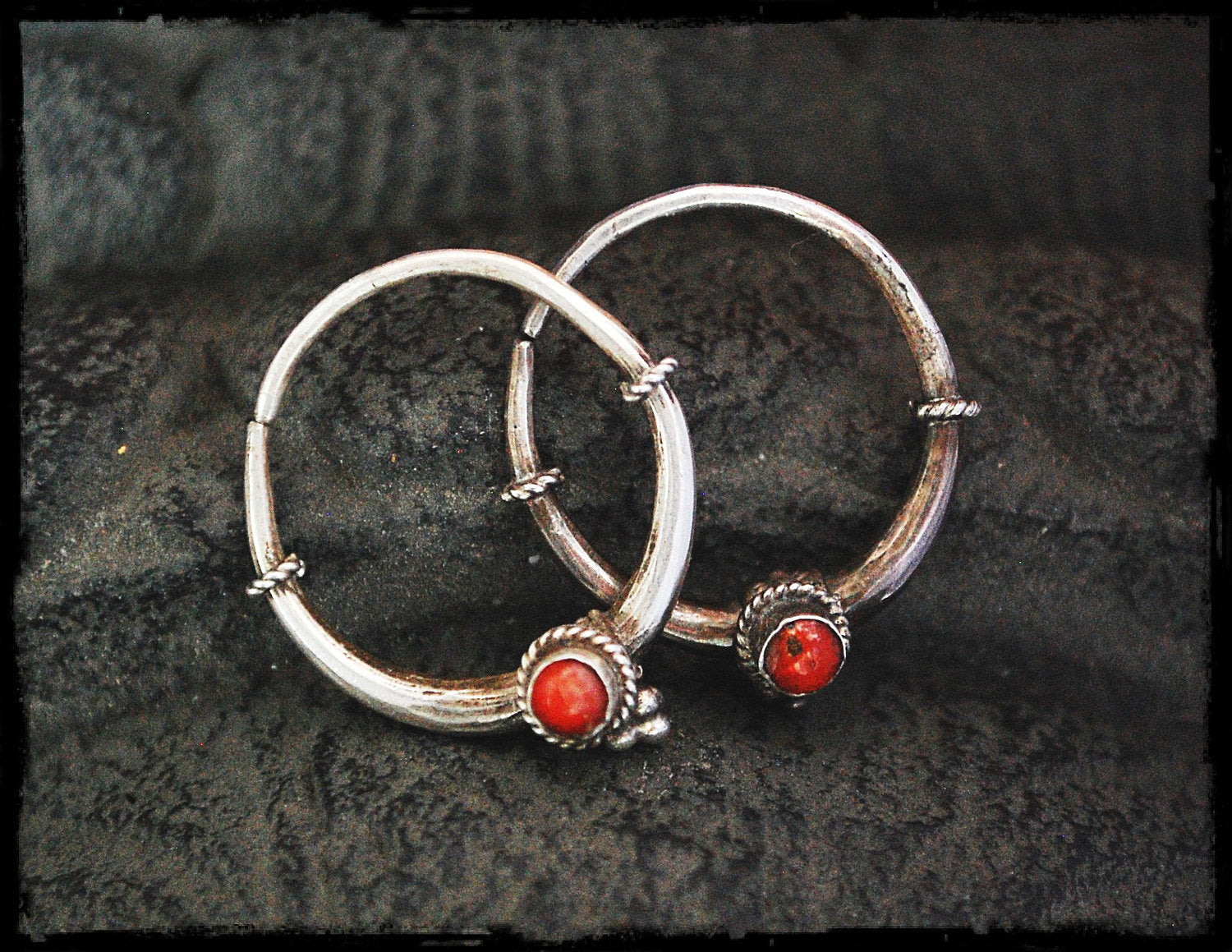 Tribal Hoop Earrings with Coral & Onyx