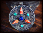 Antique Tibetan Filigree Pendant with Coral, Turquoise and Lapis Lazuli