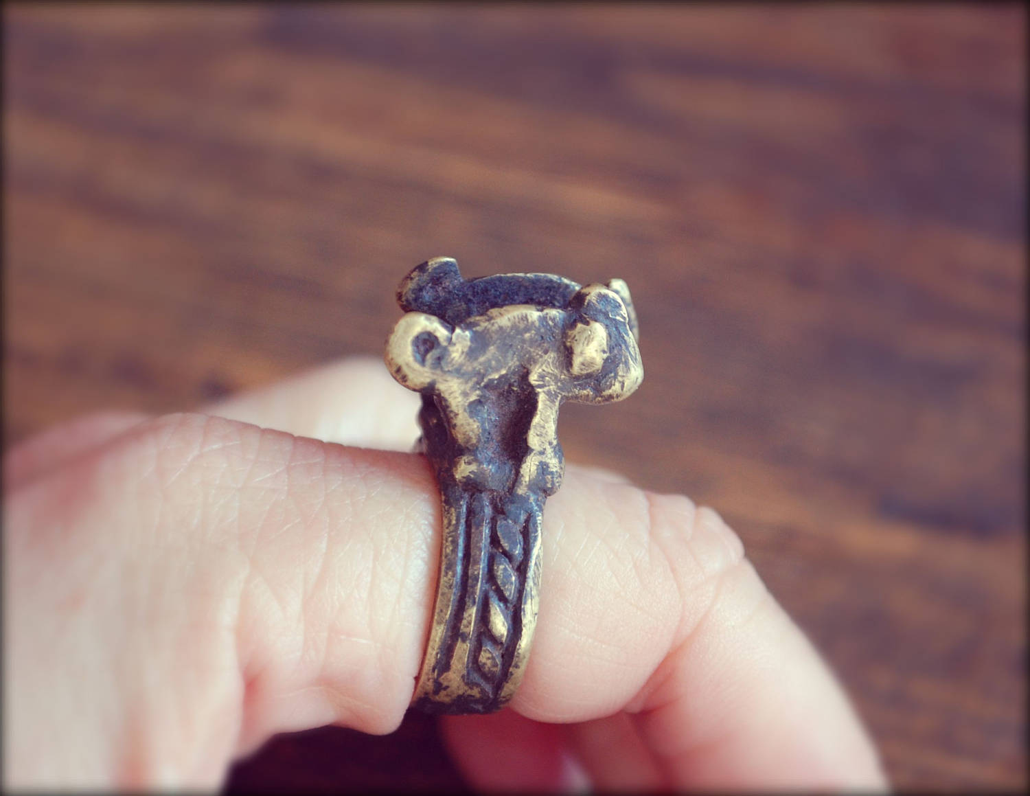 Old Lobi Chameleon Brass Ring - Size 6.5 - Double Chameleon Ring
