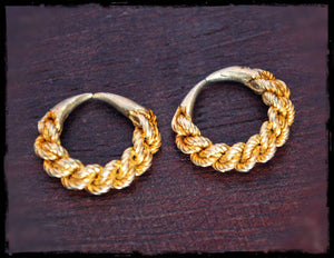 Tribal Fulani Hoop Earrings - Brass and Silver - Ethnic Tribal Hoop Earrings - Fulani Jewelry - Fulani Hoop Earrings