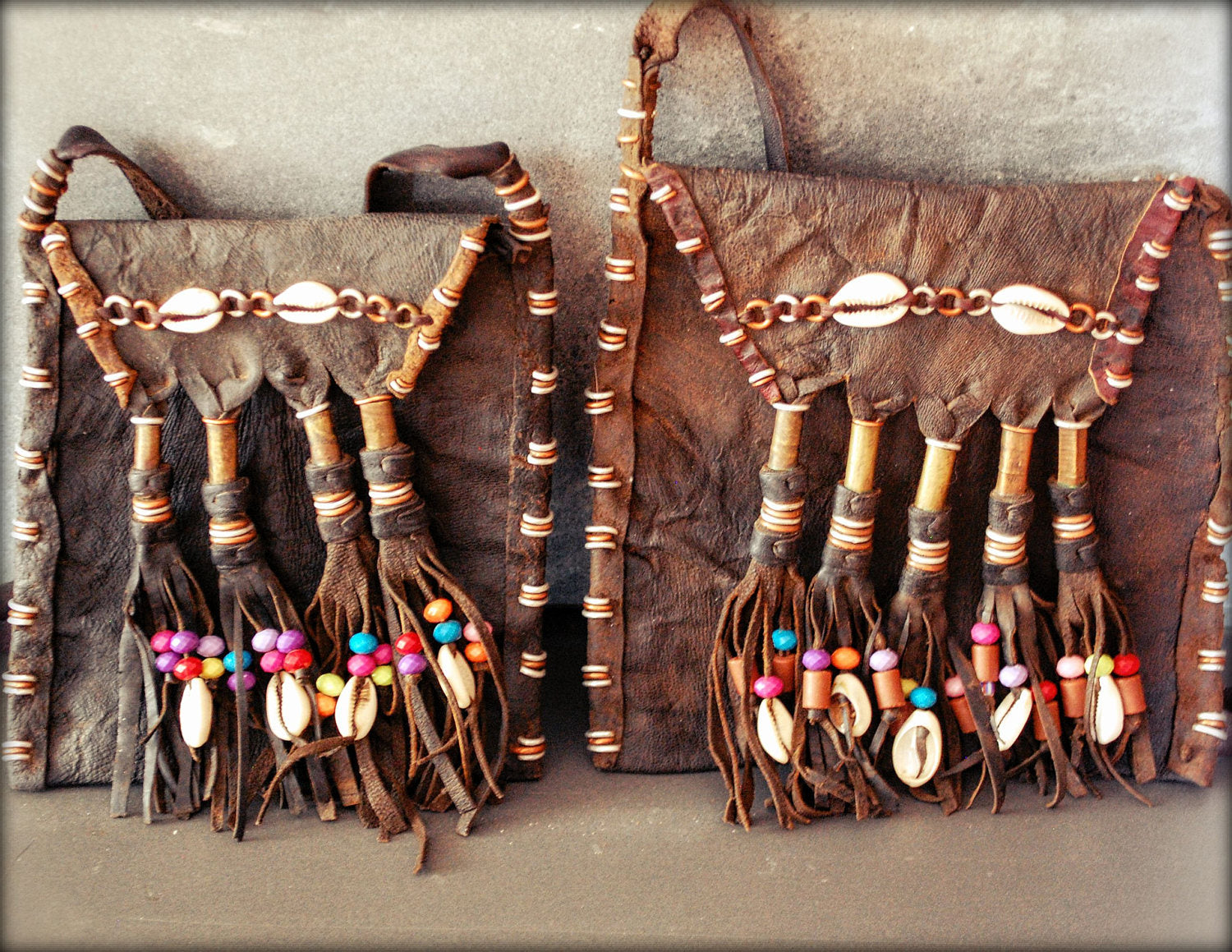 Wodaabe Leather Bag with Cowrie Shells - Fulani Leather Bag from Mali - Tribal Leather Bag - African Leather Pouch