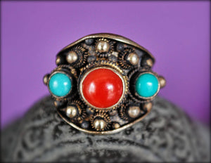Antique Chinese Coral and Turquoise Ring - Size 8 - Antique Chinese Ring - Ethnic Chinese Ring - Antique Coral Ring - Old Chinese Ring