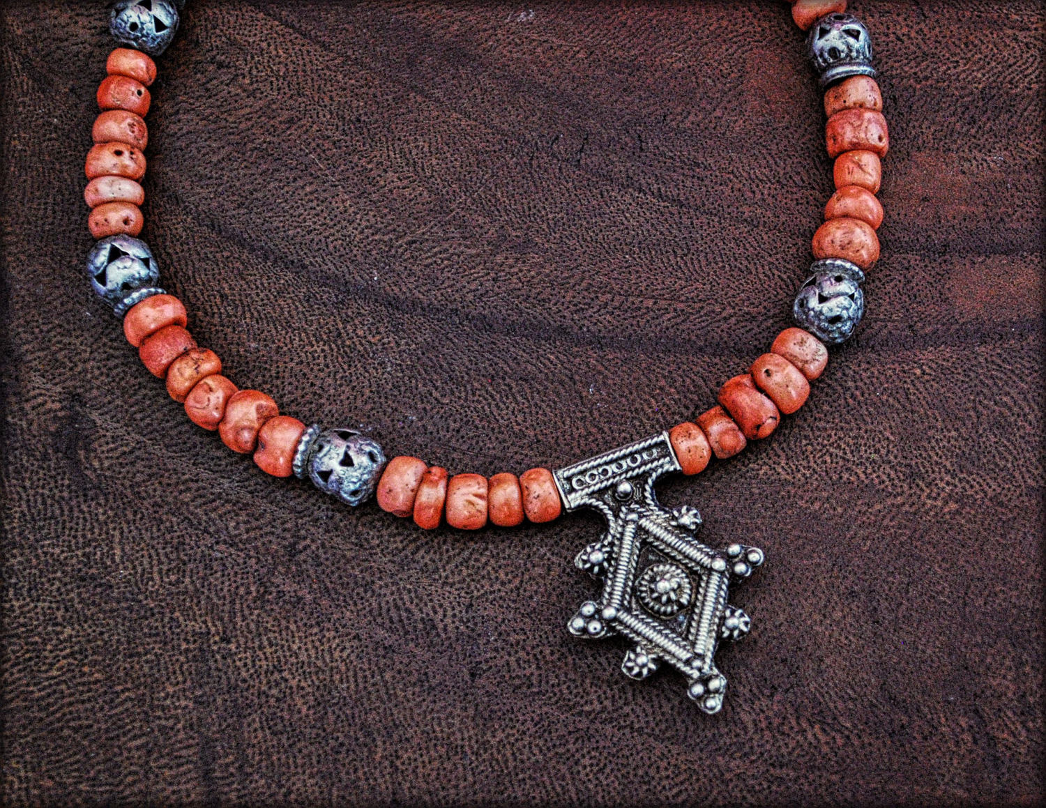 Berber Cross Coral Choker Necklace with Tribal Silver Beads