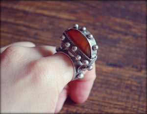 Tuareg Tisek Silver Ring With Agate And Beautiful Decorations - Size 8.5 - Tuareg Silver Ring - Tuareg Jewelry - Ethnic Tribal Ring