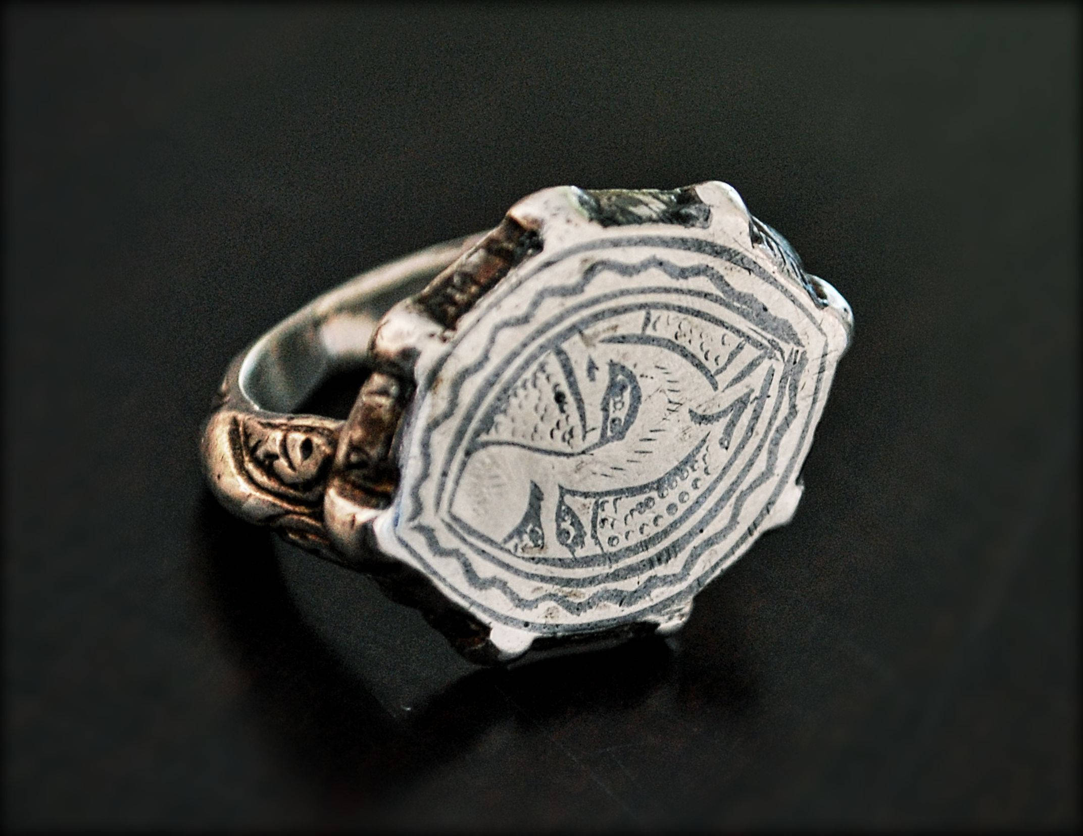 Old Turkmen Signet Ring with Deer - Size  10 - Islamic Silver Signet Ring - Ethnic Tribal Silver Ring