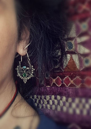 Antique Afghan Tribal Hoop Earrings with Colored Glass - Tribal Hoop Earrings - Afghan Hoop Earrings - Kuchi Earrings