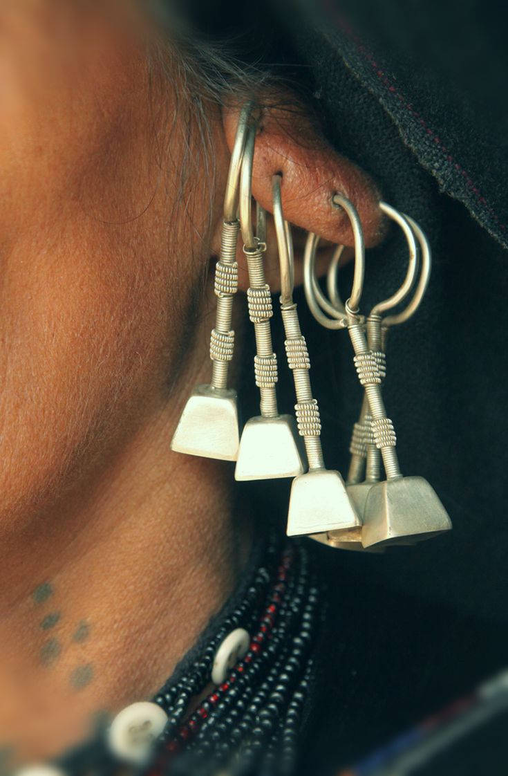 Rajasthan Silver Earrings - Gujarat Silver Earrings - Rabari Earrings - Tribal Rajasthan Silver Jewelry - Tribal Gypsy Earrings