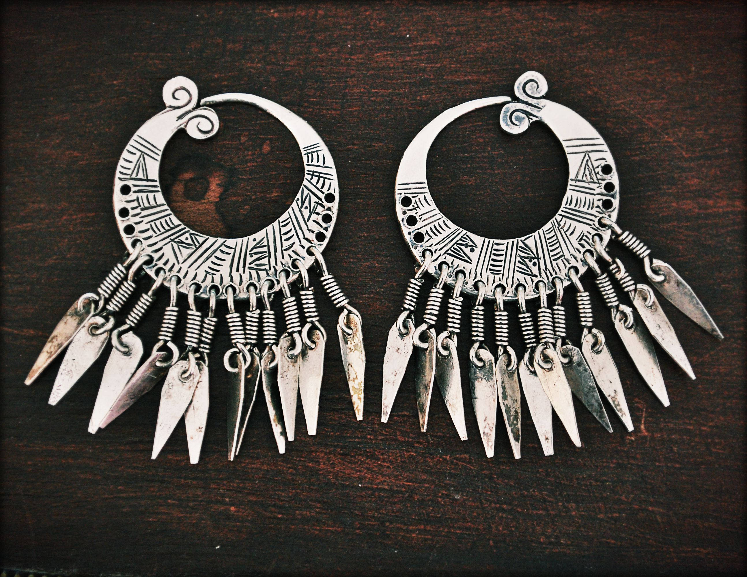Hmong Hill Tribe Hoop Earrings - Small Tribal Hmong Hoop Earrings - Ethnic Tribal Hoop Earrings - Akha Silver Earrings