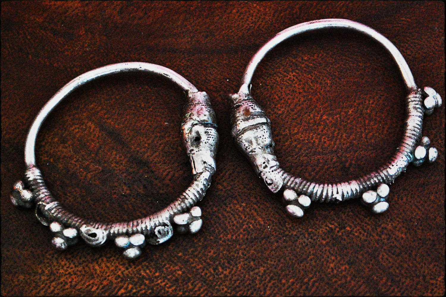 Antique Oman Bedouin Hoop Earrings - Tribal Hoop Earrings - Omani Silver Hoop Earrings - Yemen Hoop Earrings - Gauged Hoop Earrings