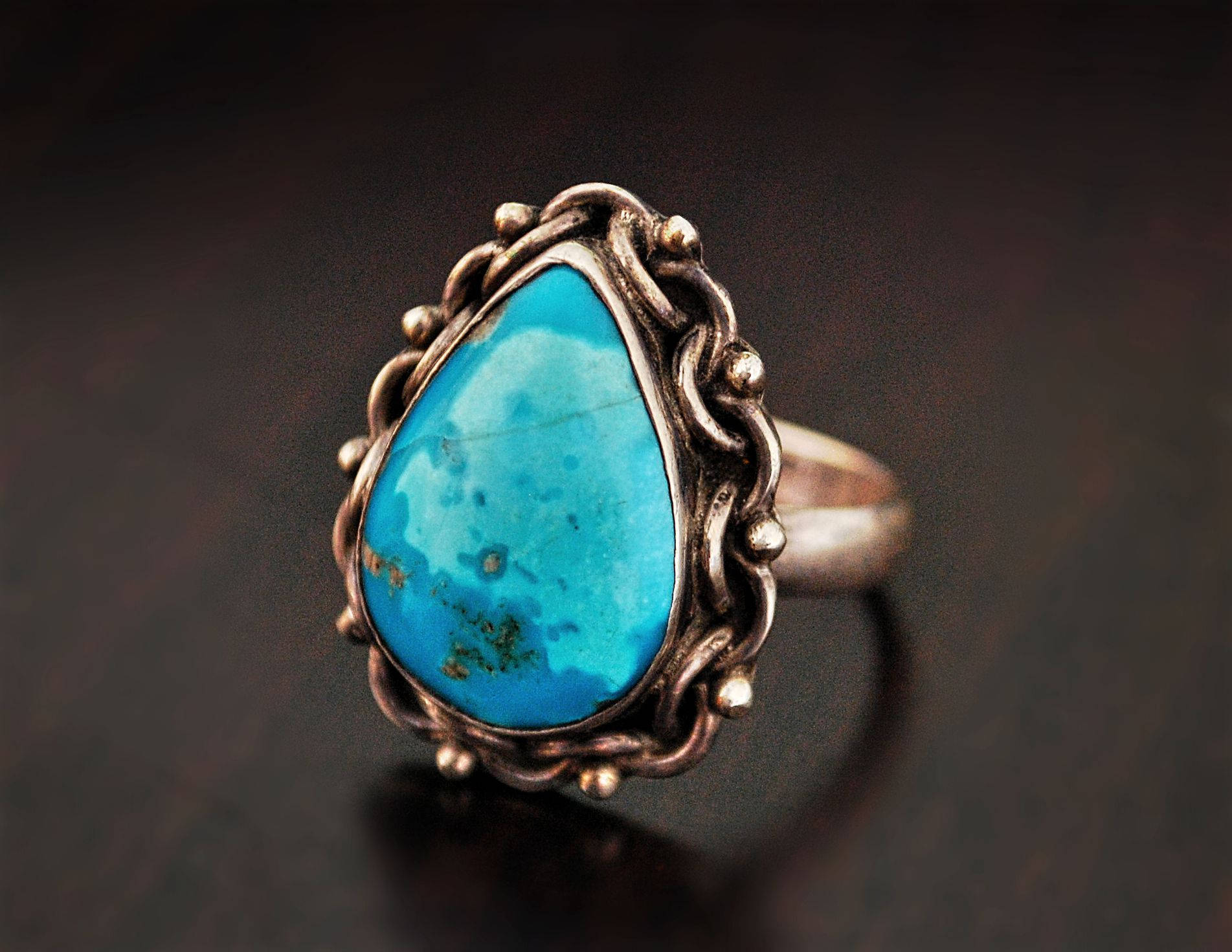Ethnic Turquoise Ring from India - Size 8