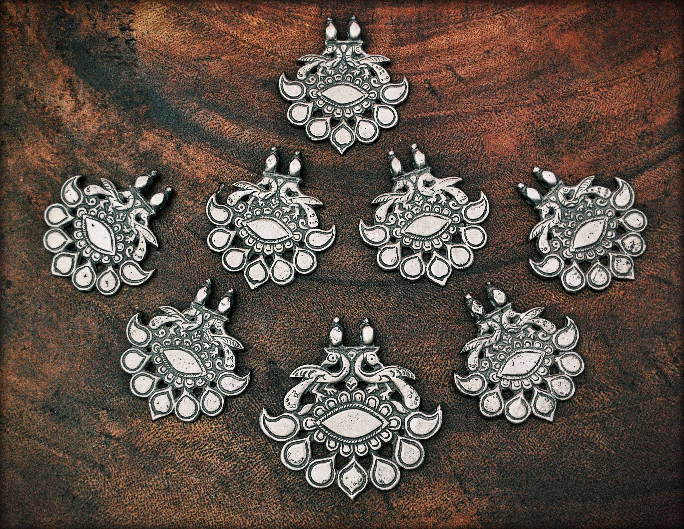 Antique Rajasthan Tribal Silver Pendant - Indian Tribal Peacock Amulet - Indian Tribal Jewelry- Indian Tribal Silver Pendant