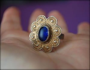 Antique Turkmen Gilded Glass Stone Ring - Size 8.75- Antique Afghan Glass Stone Ring
