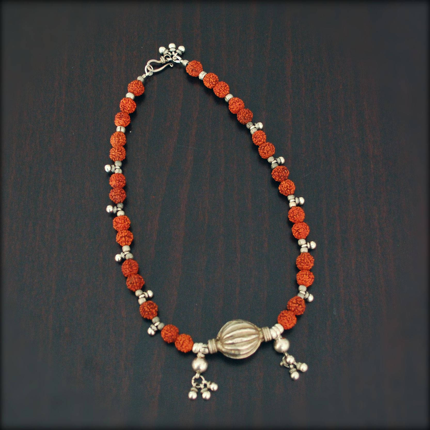 Rudraksha Antique Rajasthan Silver Beads Choker Necklace - Rudraksha Necklace - Rajasthan Silver Necklace