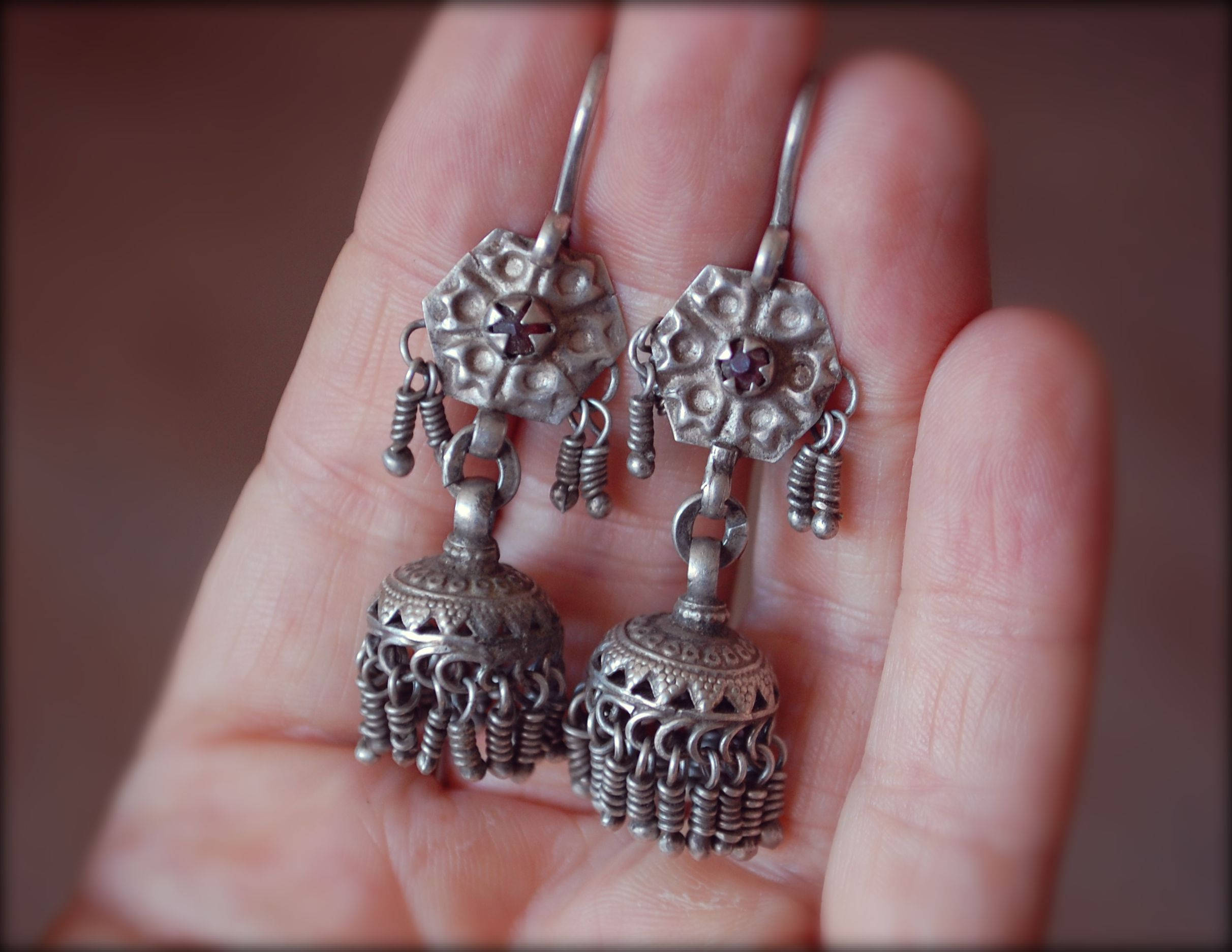 Tribal Kashmiri Jhumka Earrings with Red Glass - Tribal Silver Earrings - Tribal Afghan Earrings - Jhumka Earrings - Ethnic Tribal Earrings