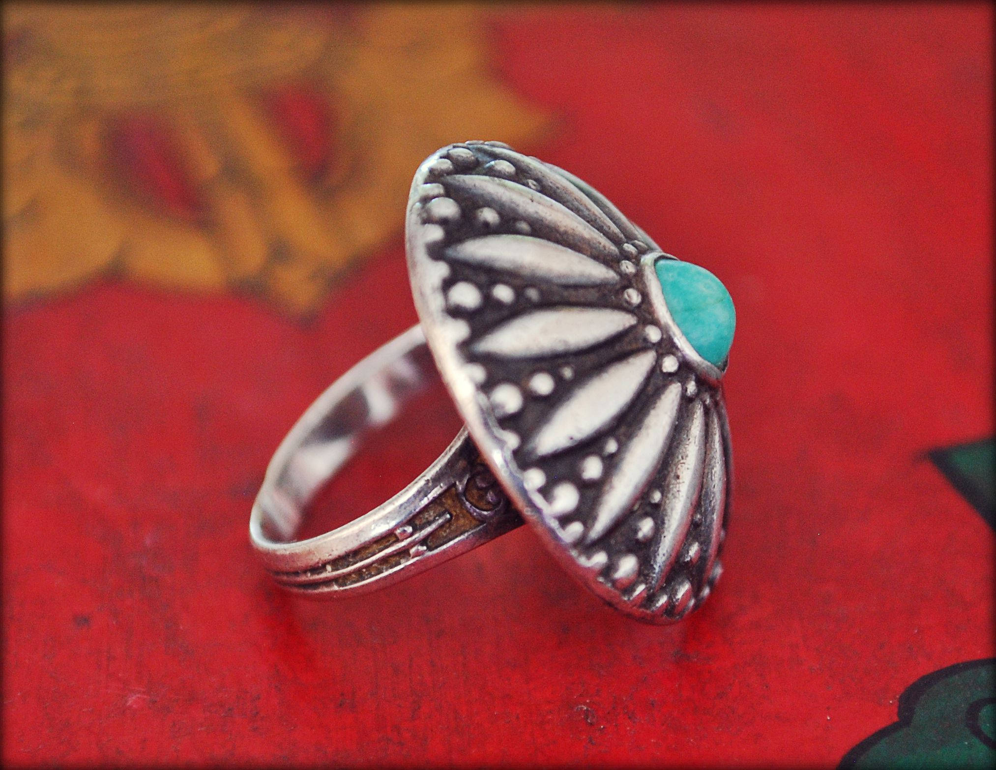 Rajasthani Silver Ring with Turquoise - Size 7 - Rajasthani Silver - Rajasthani Jewelry - Ethnic Tribal Indian Silver Ring