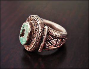 Old Kazakh Silver Turquoise Ring - Size 9 - Central Asia Ethnic Tribal Ring - Ring from Kazakhstan - Tribal Silver Ring