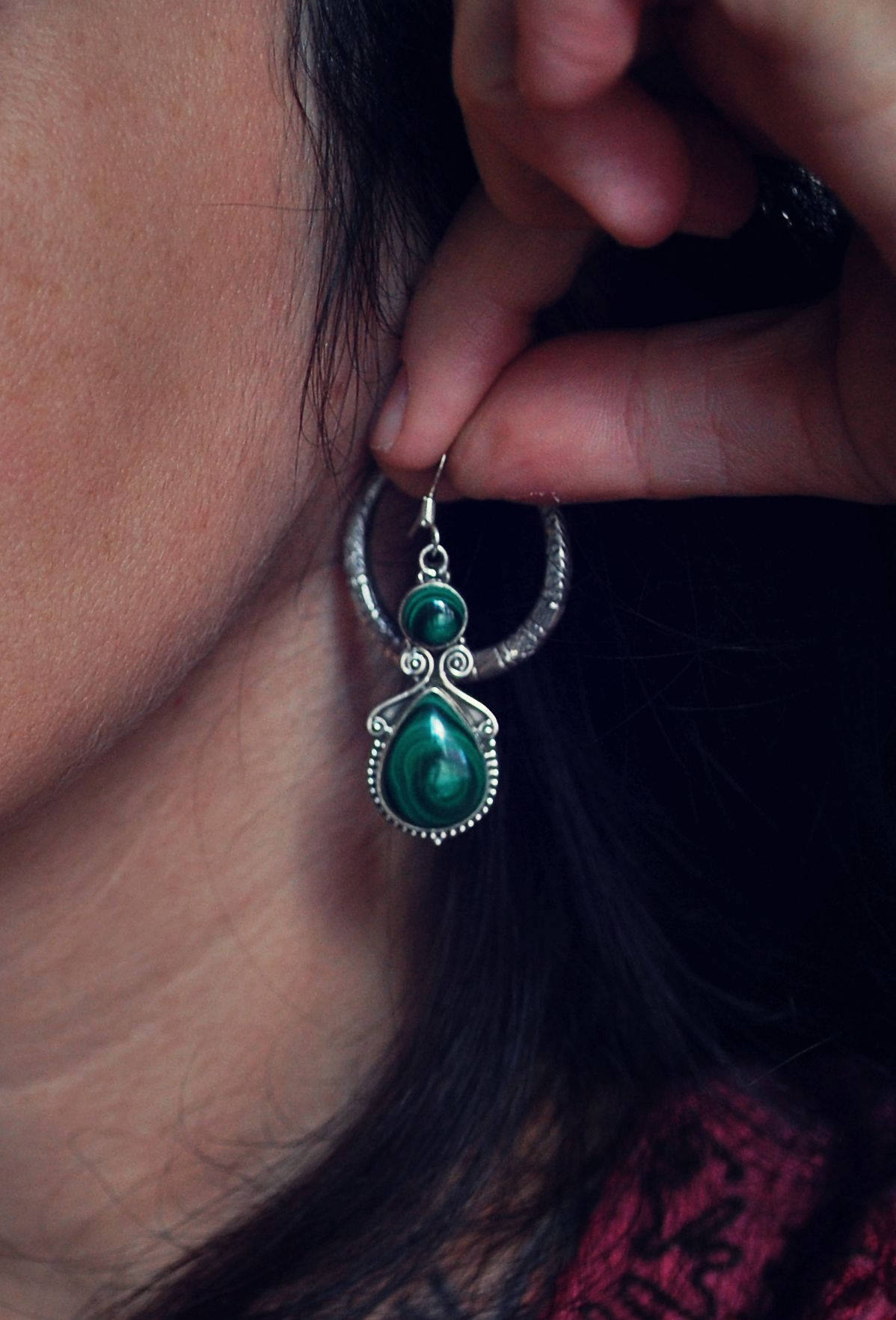 Gypsy Indian Malachite Earrings - Ethnic Malachite Earrings - Indian Earrings