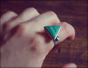 Vintage Malachite Triangle Ring - Size 7.75