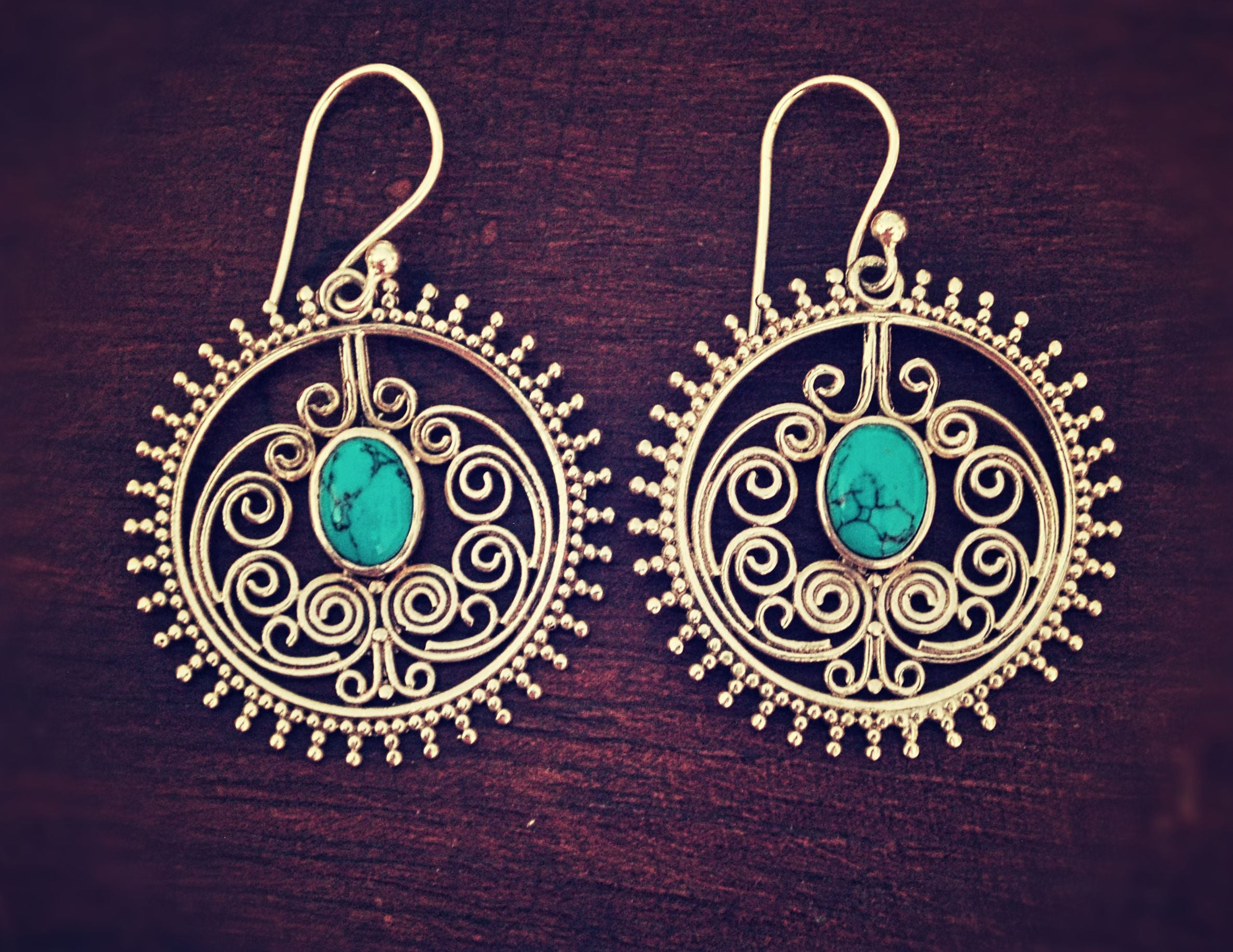 Ethnic Turquoise Earrings - Boho Turquoise Earrings