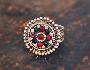Afghani Ring with Red and Green Glass Stones - Size 8.5