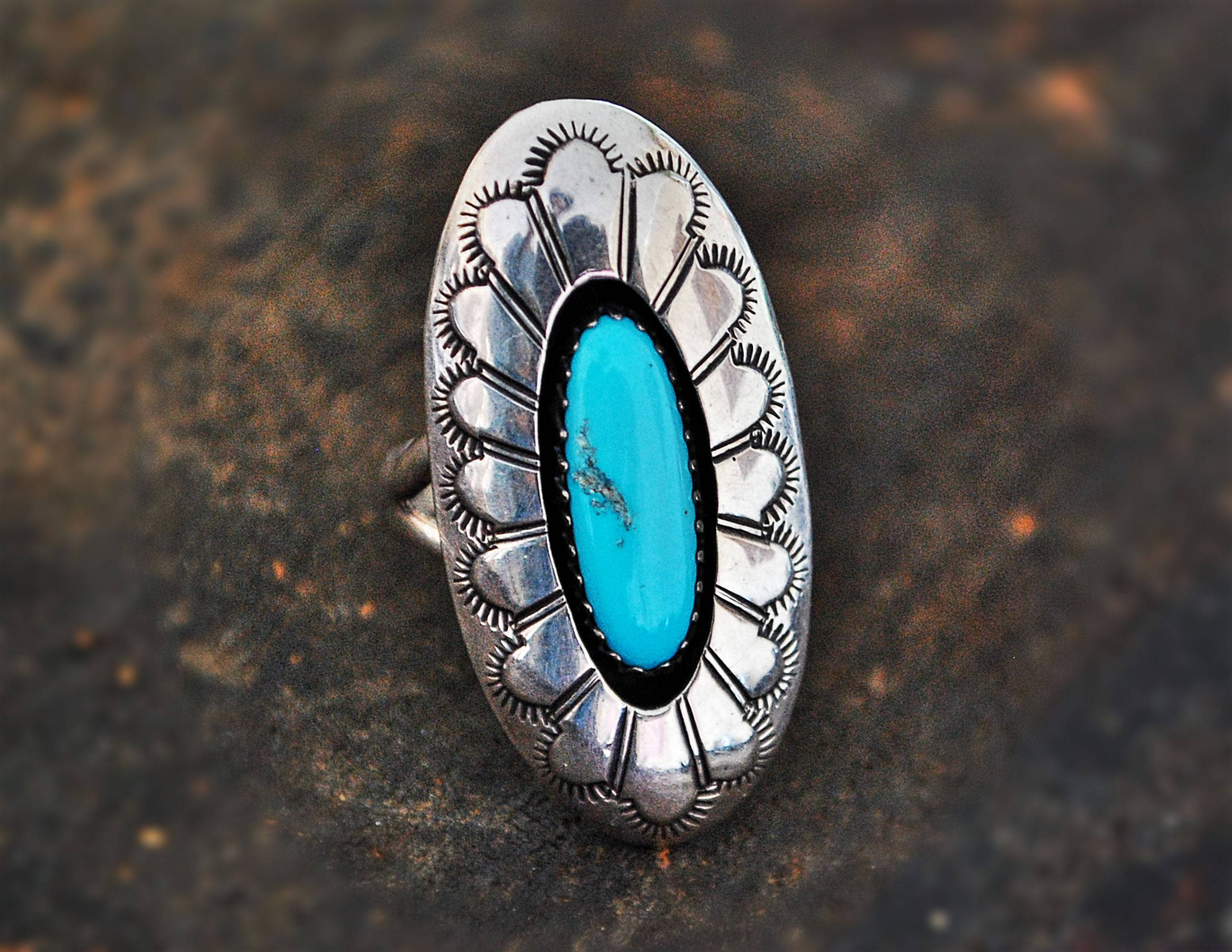 Native American Navajo Turquoise Ring - Size 6 - Navajo Stamped Concho Ring