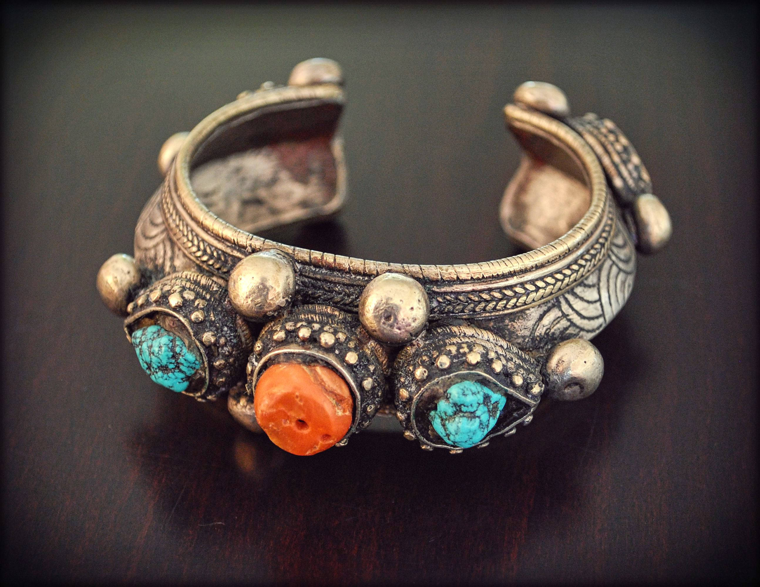 Antique Tibetan Bracelet With Turquoise and Coral - Bhutanese Dobchu Bracelet - Tibetan Antiques - Antique Himalayan Cuff Bracelet